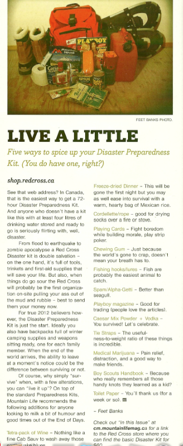 Feet Banks' emergency kit, from the Apocalypse issue of Mountain Life