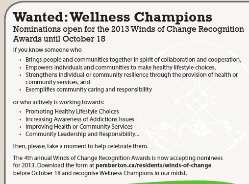 Winds of Change Wellness Recognition Award