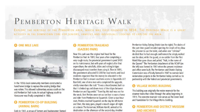 Pick up (or download) a copy of the Visitor Guide to Pemberton for the Heritage Walk.