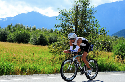 First rider to head up Pemberton Meadows IRONMAN Whistler 2013 photo by Dave Steers